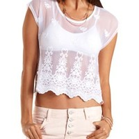 Embroidered Mesh Tee by Charlotte Russe - White