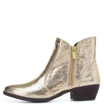 Qupid Metallic Almond Toe Ankle Boots by Charlotte Russe - Gold