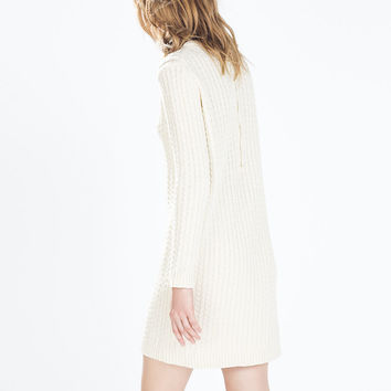 LONG-SLEEVED CABLE-KNIT DRESS