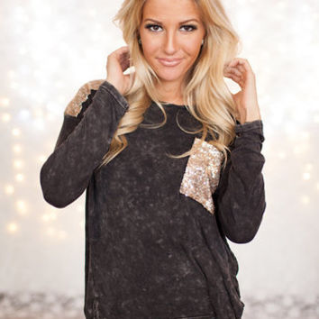 Long Sleeve Sequins Top Black/Gold