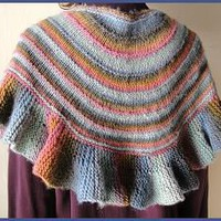 Mochi Plus Ruffled Shawl - soft ruffles trimmed shawl - Crystal Palace 