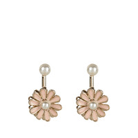 Flower and Pearl Ear Jacket | Pink | Accessorize