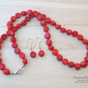 Red coral necklace and earrings, Jewelry set, Statement necklace, Necklace for her, Stone jewelry, Stone necklace, Gift for her
