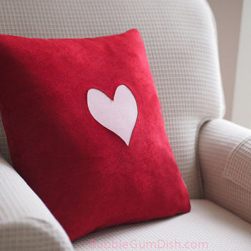Love Red Heart Valentine Pillow Cover Cute Valentines Day Decor 18 x 18