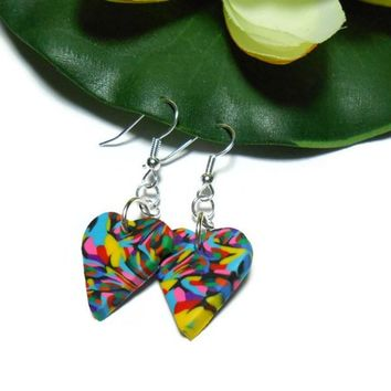 Psychedelic Earrings Polymer Clay Multi Color Fashion Jewelry Light