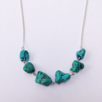 Chunky Turquoise Necklace Rough Natural Turquoise Statement Necklace