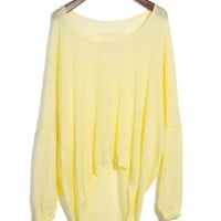Asymmetric Round Neck Yellow Sweater$39.00