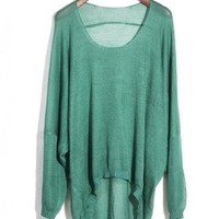 Asymmetric Round Neck Green Sweater$39.00