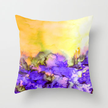 INTO ETERNITY, YELLOW AND LAVENDER PURPLE Colorful Watercolor Painting Abstract Art Floral Landscape Throw Pillow by EbiEmporium