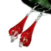 Red Trumpet Flower Earrings with Crystal Handmade Fashion Jewelry