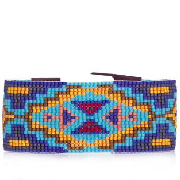 Blue Mix Beaded Cuff Bracelet - Lapis/Turquoise/Gold/Red
