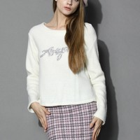 Diamond Embellished Fluffy Top in Off-white