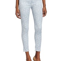 7 For All Mankind Women's Victorian Lace Crop Skinny Jean in Light Blue