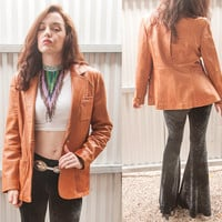 Vintage Caramel Genuine Leather Blazer Jacket   Womens M Medium Large L or Mens Small   Super Soft Camel Brown Leather by Wilsons 70s 80s