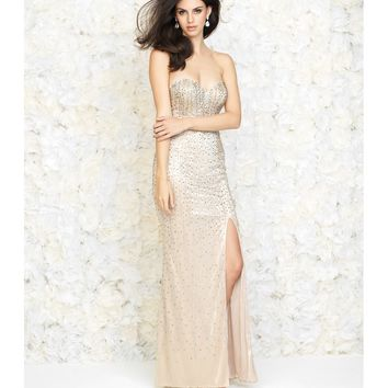 Madison James Gold Strapless Linear Beaded Gown Prom 2015 | Unique Prom