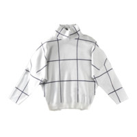 Black White Grid High Neck Sweater