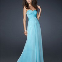 Elegant Chiffon Strapless Sweetheart Criss-cross back Floor Length Prom Dress PD2159 Dresses UK