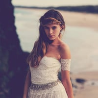 strapless lace wedding dress arm bands, bohemian floaty