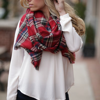 Red Blanket Scarf - One