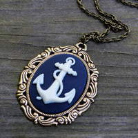 Anchor Necklace - Nautical Necklace- Navy Blue