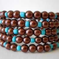 Memory Wire Bracelet Autumn Brown and Teal Pearl Stacked Bracelet Beaded Wrap Bracelet
