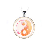 Yin Yang Tangerine Orange Pendant Zen Silver Plated Pendant