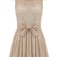 Grand Pli Damask Lace Bow Dress in Beige | Sincerely Sweet Boutique