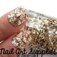 Liquid Gold - Large Gold Specks Glitter Nail Polish 9.8ml from nailartsupplies