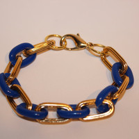 BRYNN Bracelet: Textured oval chain with plastic blue links Bracelet