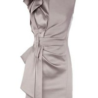 Bqueen Signature Stretch Satin Dress Gery K142W