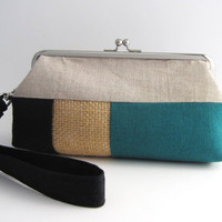 Wristlet frame clutch- stripe patchwork- black teal