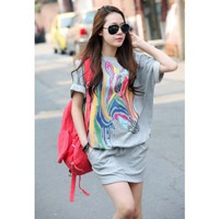 Women Grey Cotton Printing Loose Short Sleeve Free Size Dress @H4086g