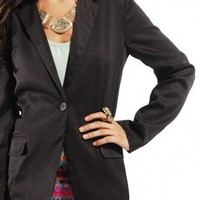 Cuffed Sleeve Blazer in Black