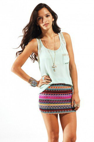 Reverse Tribal Knit Mini Skirt in Purple