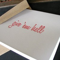 Supermarket: Give 'em hell greeting card from creativity