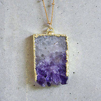 BACKORDER 9/17 - Raw Amethyst Slice Gold Filled Necklace