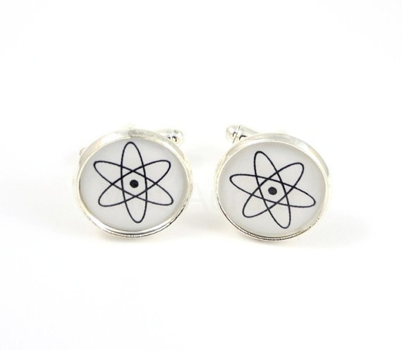 Atom Cufflinks - Science Cufflinks for Men - Geeky Cufflinks - Gift for Dad for Him - Free Shipping