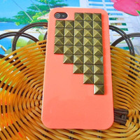 iPhone hand case cover with bronze pyramid stud for iPhone 4 Case, iPhone 4s Case, iPhone 4GS Case ,iPhone hand case cover  -042
