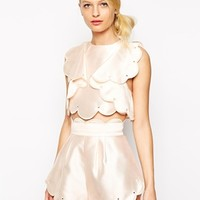 Alice McCall Crop Top with Frills and Scallop Edge