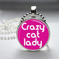 Photo Art Glass Bezel Pendant Crazy Cat Lady Necklace