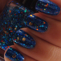 Underwater Treasure - Blue Glitter Nail Polish with Round Gold Glitter - Full Size