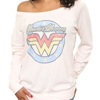 Junk Food Clothing - Women's Tops - All - Wonder Woman Long Sleeve Off the Shoulder Tee