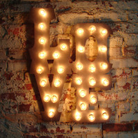 "Love sign light fixture 14"" tall letters LOVE sign polished steel carnival font."