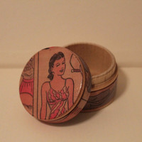 Vintage Paper Doll Jewelry Box - Wood