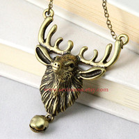 vintage style elk deer necklace, with a cute bell