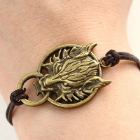 Final Fantasy VII - Cloud Wolf charm brown leather bracelet