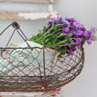 Antique French Wire Basket and Lavender Package