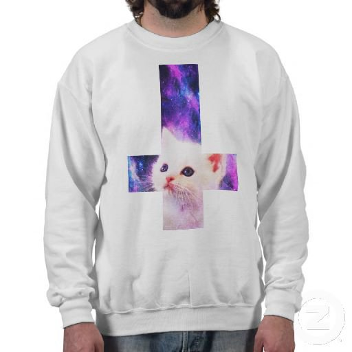 Inverted Cross & Galaxy Kitten Sweatshirt from Zazzle.com