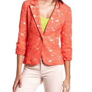 Hot Coral Lace Blazer: Charlotte Russe