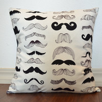 Mustachio Throw Pillow Cover